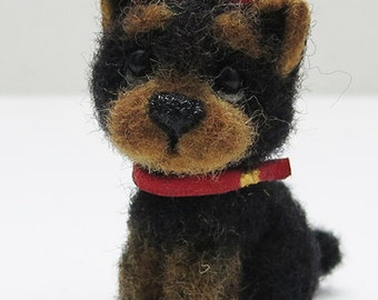 Yorkie. Needle felted dog miniature. - SOLD - (available for order)