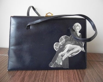 1960s Ackery of London Leather Kelly style bag with Marilyn Monroe picture