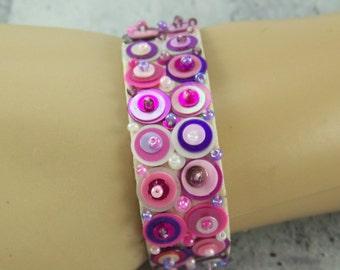 Beaded Cuff Bracelet, Velveteen Cuff Bracelet, Sequin Seed Bead Bracelet, Embroidered Bracelet, Bead Embroidery, Destash Bracelet, Bracelet