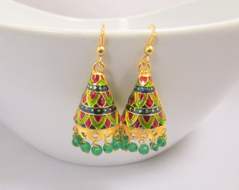 Green and Red Meenakari Handcrafted Earrings
