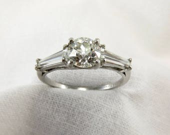 Circa 1930 Diamond and Platinum Engagement Ring Set with a 1.05 carat Old European Cut Diamond