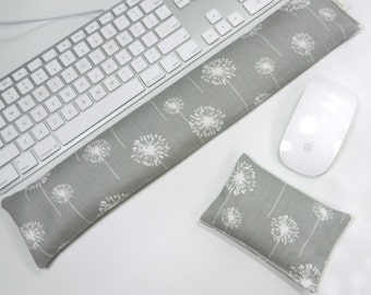 Computer Keyboard Pad and Optional Mouse Wrist Rest Set in Gray Dandelion - Wrist Support