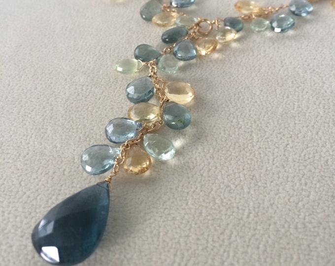 Autumn Inspired Gemstone Lariat Necklace in Gold Vermeil, Moss Aquamarine, Citrine, Fluorite, Prehnite, Mystic Quartz - Adjustable Length