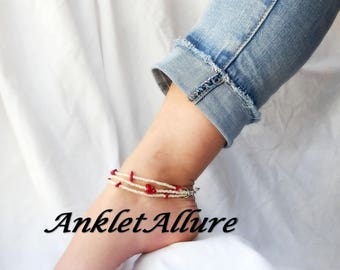 Anklet Beach Ankle Bracelet RED Coral Anklet Cruise Anklets for Women GUARANTEED