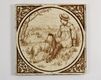Antique Victorian shepherd sheep dog pottery tile c. 1890