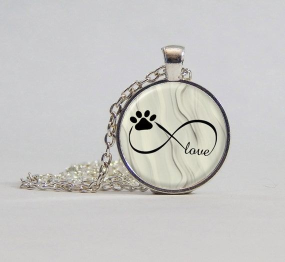 Necklace Infinity Symbol With Dog Paw Picture Pendant Necklace