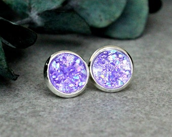 Purple Stud Earrings, Purple Druzy Earrings, Purple Earrings, Purple Bridesmaid Earrings, Violet Earrings, Purple Post Earrings, Purple Stud