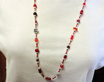 Red, White and Silver Long Necklace w/ Silver Accents to wear Casually or a little Dressier  ...  about 32 inches long