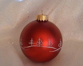 Red Hand painted Christmas Ball
