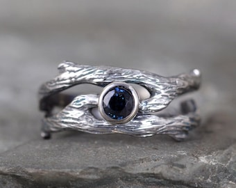 Blue Sapphire Twig Style Engagement Ring and Wedding Band Set - Sterling Silver - Alternative Engagement Ring - Nature - Branch Rings - Tree