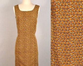 90s Mustard Sleeveless Shift Dress Vintage Mod