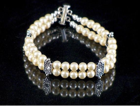 Double Strand  6mm Swarovski Pearl Bracelet