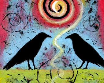 Raven Art Print. Bird Art Archival Print. Two Crows Art. Vibrant Colors. Raven Art titled Two Ravens Sit and Reflect II. Anniversary Gift.