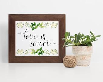 Laurel Leaf Dessert Sign, Love is Sweet Dessert Sign, Eucalyptus Dessert Table Sign, Dessert Table Idea, Wedding Dessert Table, Laurel Sign