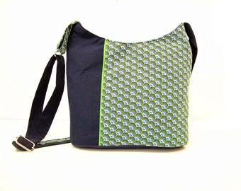 crossbody bag navy blue and green graphic fabric ,canvas bucket bag for women ,zippered crossbody purse