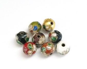 Cloisonne Beads, Round Beads, Handmade Beads, 8mm Assorted Colors, Lot Size 10 to 30 Beads