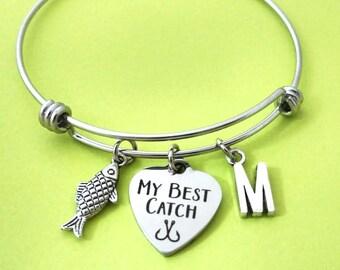 Persoanlized, Letter, Initial, My Best Catch, Fish, Hook, Heart, Bangle, Bracelet, Birthday, Lovers, Best friends, Mom, Sister, Gift