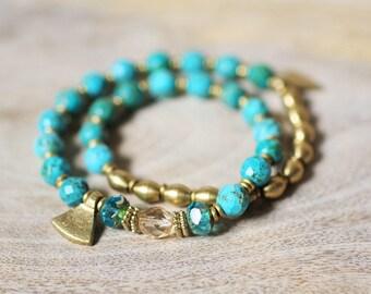 Turquoise Double Wrap Bracelet // Boho Turquoise Bracelet