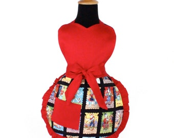Little Girls Colorful Cartas Marcadas Apron  / One size Fits Ages 2-10