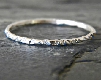 Thin Stacking Ring - Dainty Silver Ring - Thumb Ring for Women - Hammered Silver Ring - Midi Ring - Knuckle - Layering Ring - Size 3 - 14