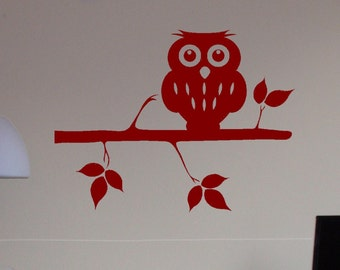 Owl and Branch Vinyl Wall Decal