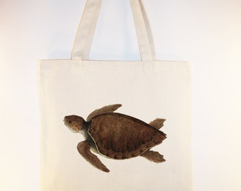 Vintage Sea Turtle illustration on Canvas Tote with shoulder strap - Selection of sizes available