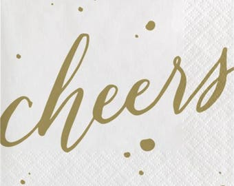 Gold Cheers Beverage Paper Napkins-24 count (5in. x 5in)-3-ply