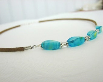Suede and Aqua Bead Necklace