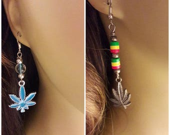 B-1B...  handmade Blue bud earrings with clear beads with blue accents or Jamaican cannabis earrings with rasta green yellow and red beads