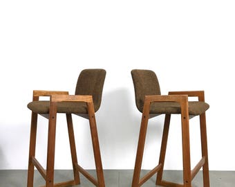 Pair of Danish Modern Teak Barstools c1960's