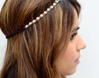 THE KATARA-Gem Crystal Gold Hair Chain Diamond Hair Jewelry Boho Festival Wedding Headpiece head chain Music Festival Spring Summer Headband