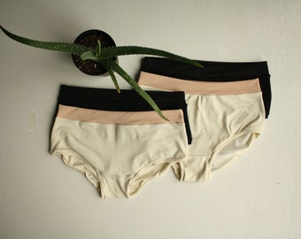 new // SET OF FOUR / organic cotton undies / two styles / super soft jersey underwear / boy short & high waist / by replicca / size xs to xl