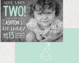 INSTANT DOWNLOAD--First Birthday Invitation Photoshop Card Template--b103