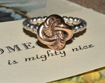 Gold Filled Love Knot Sterling Silver Ring  sz 6.75 Antique Repurposed Jewelry Silver and Gold