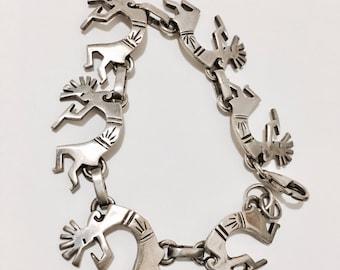 SB18 vintage Hopi sterling silver bracelet Kokopelli dancers