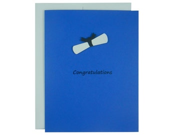 Blue Diploma Graduation Card Congratulations Card Handmade Card for Graduation Present Congrats Graduate Grad Card Gift for Graduation
