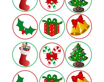 Edible Christmas Themed Cupcake Cookie Toppers