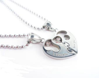 Partner chains, unisex, stainless steel, love you, Heart, love