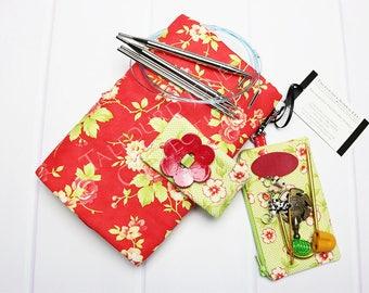 Knitting Needle Case - Interchangeable Tips - Needle Organizer - Circular Needles - Knitting Supply - Moda Fabrics - Gift for Knitters