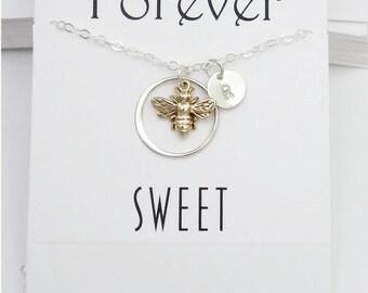 Sweet 16 Gift Personalized Bee Necklace Jewelry Set Earrings Bracelet 16th Birthday Graduation Gift Jewelry Silver Bronze Honeybee