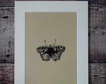 Entomological lino print: Butterfly