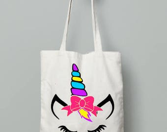 Unicorn bow tote bag | canvas bag | reusable grocery bag | fabric book bag | everyday tote | cloth canvas