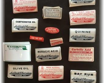 Vintage Medicine Label Ephemera L/150 Drugs Poison Apothecary Jar Antique Bottle