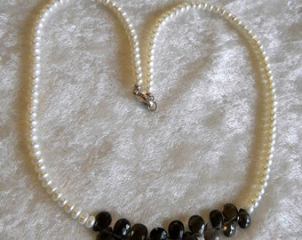SALE White Freshwater Button Pearls Pearl & Faceted Briolette Smokey Smoky Topaz Necklace , OOAk White and Brown