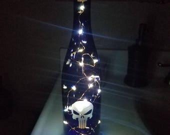 Punisher lighted wine bottle