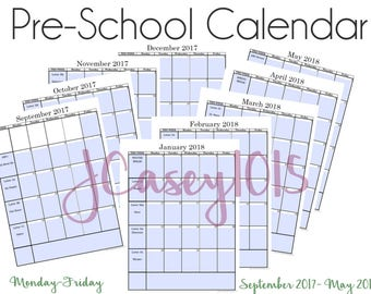 Pre-school Editable Calendar - September 2017-May 2018 with Weekly Subjects and Weekly Themes
