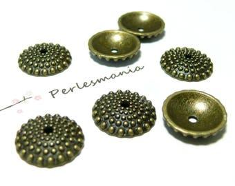 Beads and findings: 30 caps cups 2Y2603 bronze pin