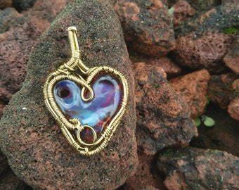 Wire Wrapped Amber Purple Glass Heart Pendant