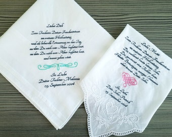 wedding handkerchief | personalized handkerchief | mother of the bride gifts | parents of the bride gifts | wedding gifts for parents