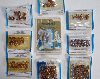 Nail Heads 200 Variety Lot Metal Studs Stars Rounds and Decorative 4 Prong Assortment Lot Craft Destash